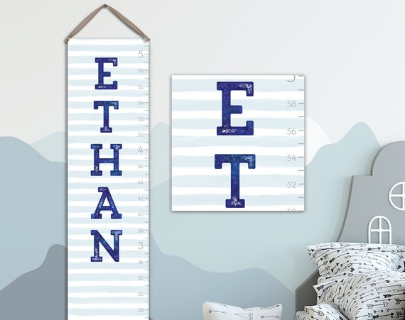 Boys Canvas Growth Chart with Stripes - Personalized Growth Chart
