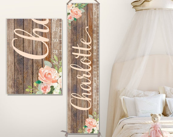 Floral Growth Chart  - Wood Image on Canvas | Flowers Growth Chart | Watercolor Flowers | Floral Nursery Decor