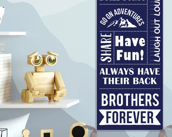 Brothers Wall Art - Personalized on Canvas - Brothers Rules; Brothers Gift; New Baby Gift, Second Baby Gifts