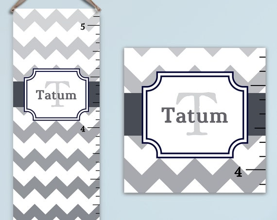 Grey Chevron Growth Chart - Canvas Growth Chart | Chevron Personalized Growth Chart, Boys Growth Chart