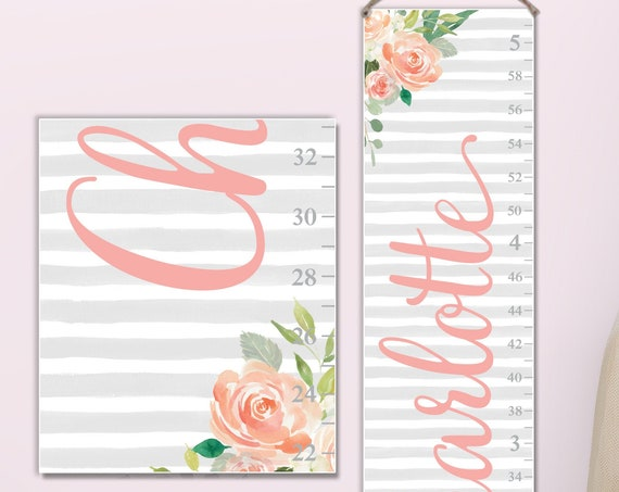 Floral Canvas Growth Chart with Watercolor Stripes and Flowers