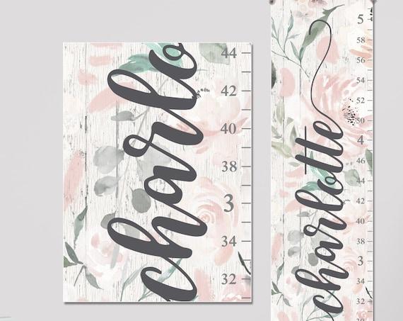 Woodland Flowers Canvas Growth Chart - Personalized Growth Chart, Floral Growth Chart, Woodland Nursery Girl, Floral Nursery Decor