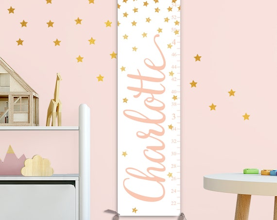 Gold Stars Growth Chart - Personalized Font Color! Canvas Growth Chart, Kids Nursery Decor, Kids Wall Art