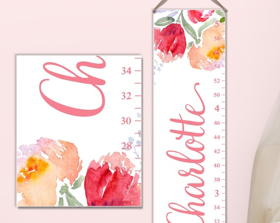 Floral Growth Chart with Tulips, Floral Nursery Decor, Girls Growth Chart, Canvas Growth Chart, Personalize Growth Chart, Growth Chart