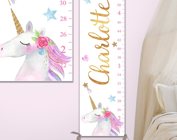 Unicorn Growth Chart - Canvas Growth Chart, Unicorn Nursery Decor, Unicorn Wall Art, Unicorn Kids Art