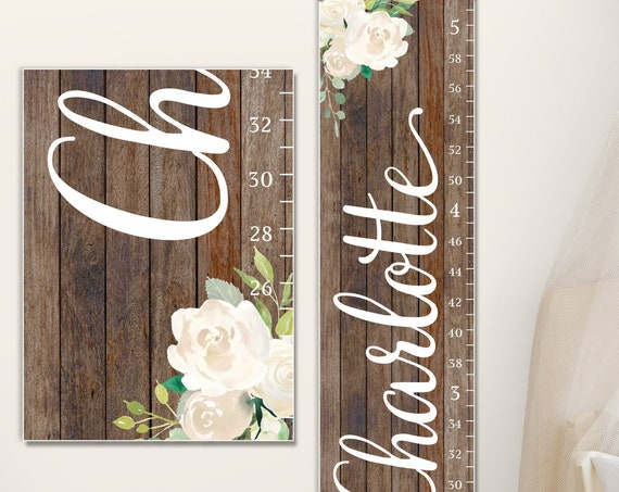 Floral Growth Chart with Wood Image on Canvas  - Floral Nursery Decor | Growth Chart Ruler | one year old girl birthday gift