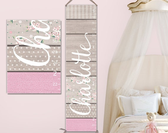 Growth Chart Girls - Growth Chart Ruler, Personalized Canvas Growth Chart, Pink Growth Chart