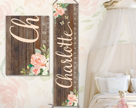 Growth Chart Ruler on Canvas with Wood Design | Growth Chart Girl | Canvas Growth Chart | Personalized Growth Chart
