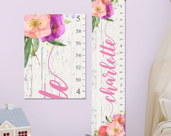 Watercolor Flowers Canvas Growth Chart - Personalized Growth Chart | Floral Nursery Name | Floral Nursery Print | Floral Nursery Art