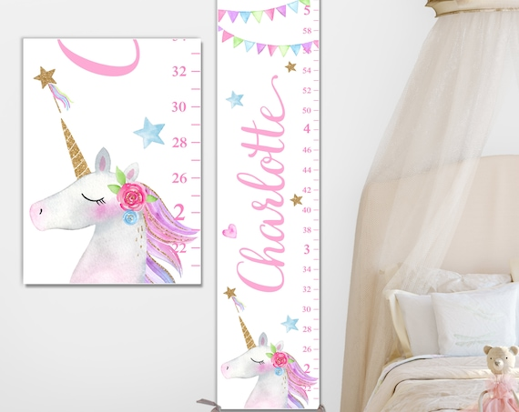 Unicorn Growth Chart on Canvas - Personalized Growth Chart