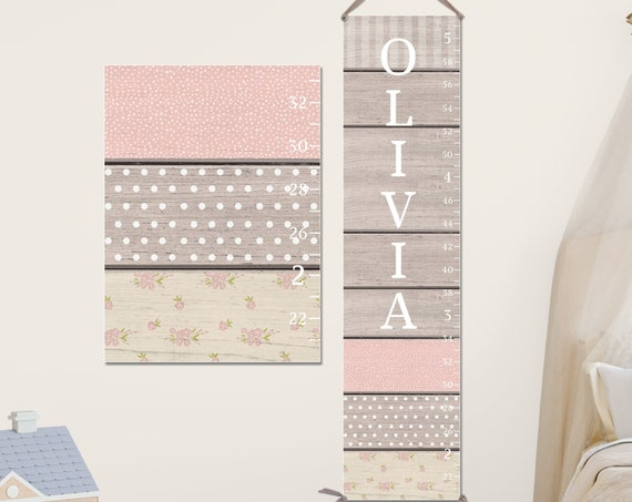 Blush, Gray, & Cream Growth Chart - Canvas Growth Chart I Personalized Growth Chart I Rustic Growth Chart I Blush Nursery Decor