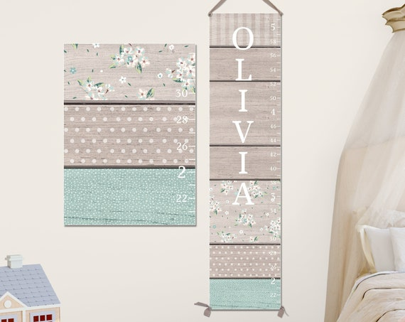 Aqua & Grey Growth Chart - Canvas Growth Chart I Personalized I Baby Shower Gift I Nursery Decor I Height Chart I Rustic Growth Chart