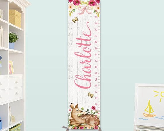 Girls Growth Chart on Canvas - Woodland Nursery Decor, Personalized Growth Chart, Deer Nursery Art