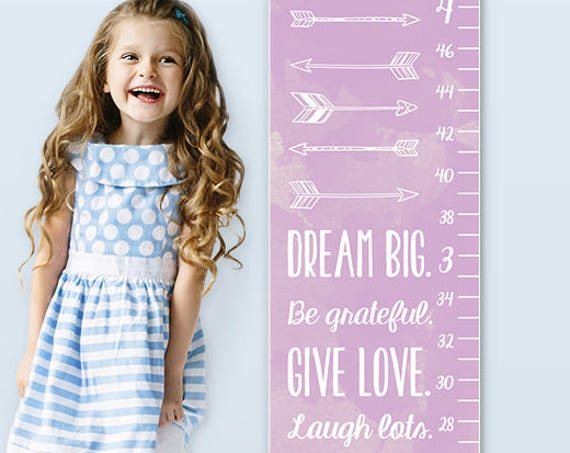 Dream Big - Arrow Growth Chart - Personalized Canvas Growth Chart, Arrow Nursery Decor, Arrow Nursery Art, Grow Chart - GC0002L