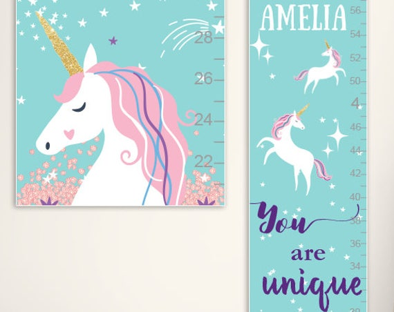 Unicorn Growth Chart - Personalized Canvas Growth Chart, Unicorn Nursery, Unicorn Birthday, Unicorn Gift, Unicorn Party - GC4338A