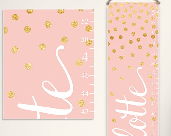 Pink and Small Gold Dots Growth Chart  - GC2039W