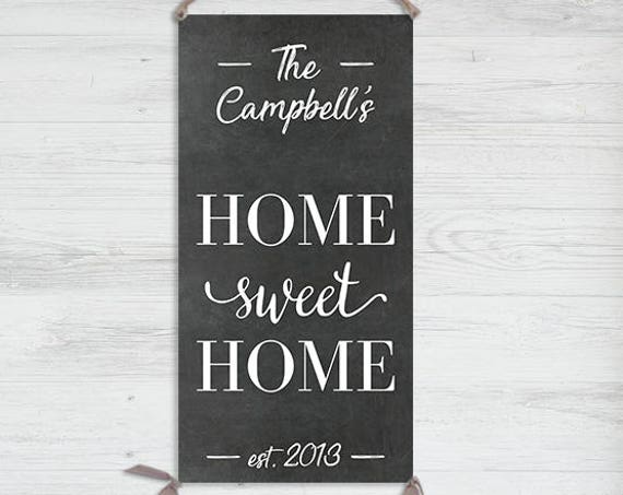 Home Sweet Home Sign - Personalized Home Sign on Canvas, Housewarming Gift, House Sign, Family Sign, Family Name Sign, Personalized - HS0010