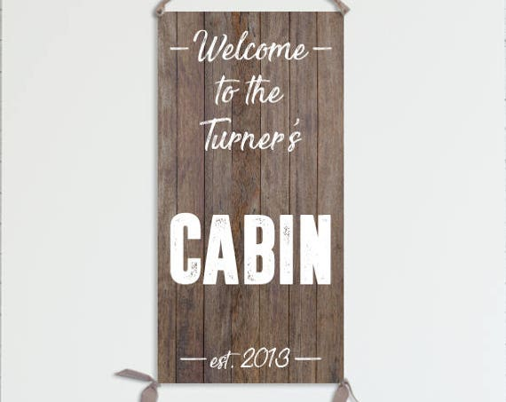 Cabin Sign - Personalized Home Sign on Canvas - Cabin Decor, Cabin Signs, Cabin Gift, Cabin Sign Personalized, Cabin Wall Art - HS0007WX