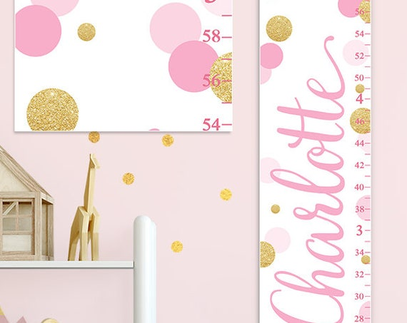 Pink & Gold Growth Chart - Canvas Growth Chart, Personalized Growth Chart, Perfect for Pink and Gold Nursery