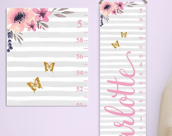 Floral Nursery Decor - Personalized Canvas Growth Chart, Floral Growth Chart, Watercolor Flowers