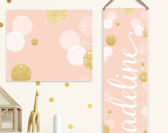 Blush and Gold Growth Chart - Personalized Canvas Growth Chart, Gold and Blush Nursery, Gold and Blush Baby - GC2031W