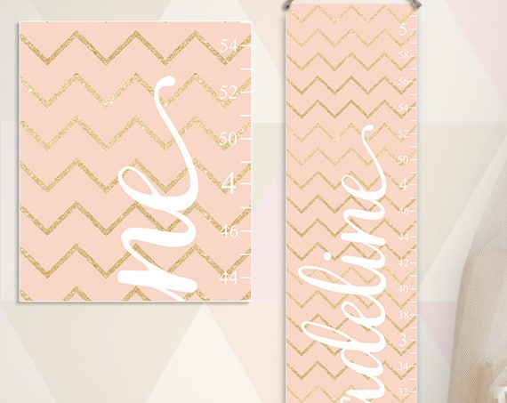 Blush and Gold Growth Chart - Nursery Decor - Personalized Canvas Growth Chart, Gold and Blush Nursery, Gold and Blush Baby - GC2033W