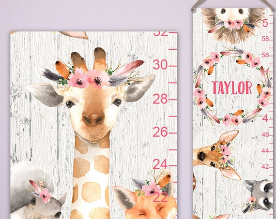 Woodland Growth Chart on Canvas - Watercolor Woodland Animals on Wood Image Background | Woodland Nursery | Woodland Baby | Woodland Kids