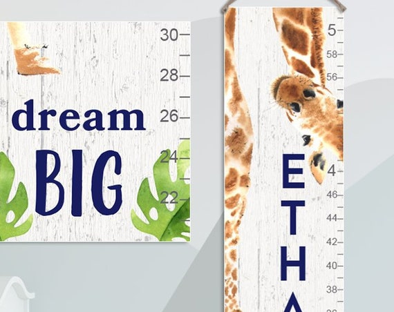 Giraffe Growth Chart - Personalized Canvas Growth Chart / Animal Prints / Jungle Nursery Decor