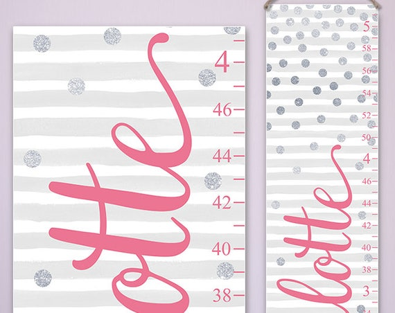 Pink and Silver Nursery Decor - Growth Chart - Personalized Canvas Growth Chart, Pink and Silver Nursery Kids Decor