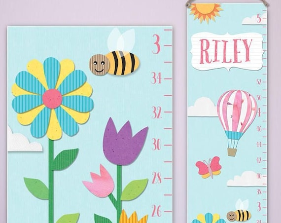 Flowers Growth Chart - Personalized Canvas Growth Chart | Cute Patterns | Floral Growth Chart | Girls Growth Chart | Toddler Gift Girl