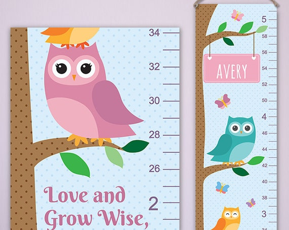 Owl Growth Chart in Turquoise - Personalized Canvas Growth Chart, Owl Decor, Owl Nursery - GC4000A