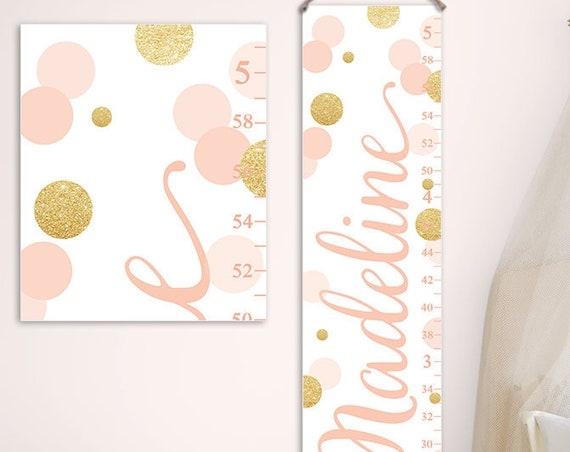 Girl Growth Chart - Blush and Gold Nursery, Personalized Canvas Growth Chart, First Birthday Gift  - GC2037BH