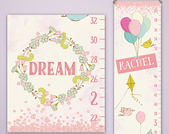 Pink Growth Chart - Sweet Dreams - Personalized Canvas Growth Chart, Height Chart Ruler, Girls Growth Chart - GC2004S