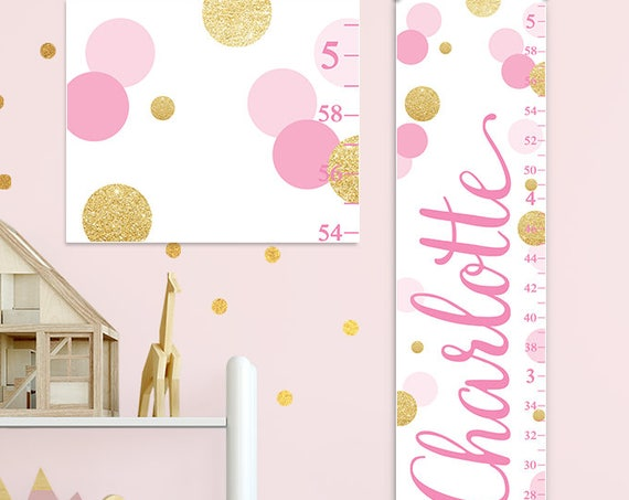 Pink and Gold Dots Growth Chart