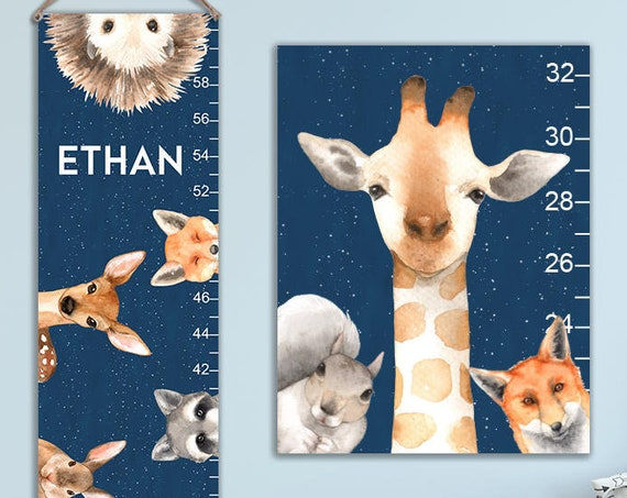 Woodland Growth Chart - Animals Growth Chart, Personalized Canvas Growth Chart, Toddler Gift, First Birthday - GC4008N