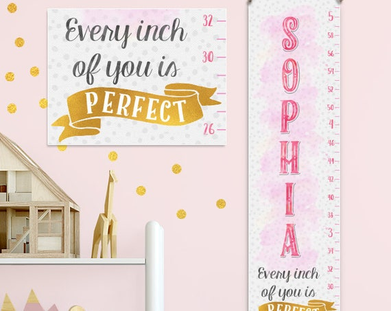 Pink & Gold Growth Chart - Pink and Gold Baby, Pink and Gold First Birthday, Growth Chart Girl - GC8000G