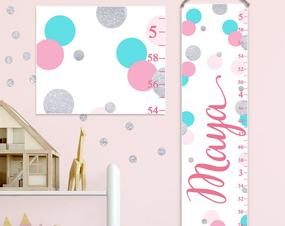 Growth Chart - Pink, Turquoise and Silver Dots, Pink and Silver Nursery Decor, Personalized Canvas Growth Chart - GC2034M
