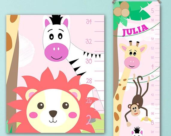 Growth Chart Safari - Girl Growth Chart,  Giraffe Growth Chart, Safari Wall Art, Safari Nursery Decor, Safari Animals  - GC4001P