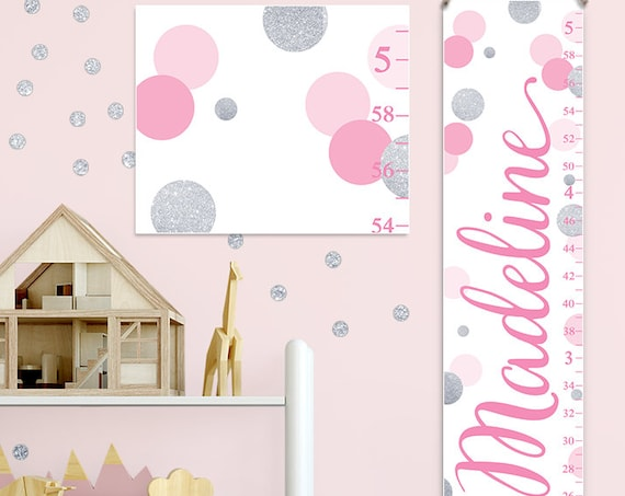 Pink and Silver Growth Chart, Pink and Silver Nursery Decor, Personalized Canvas Growth Chart, Polka Dots Growth Chart  - GC2042P