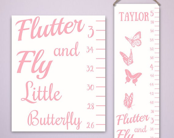 Butterfly Growth Chart - Personalized Canvas Growth Chart, Butterfly Nursery Decor, Growth Chart Butterfly - GC2000W