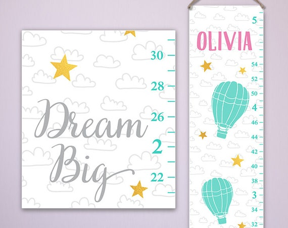 Dream Big Growth Chart - Canvas Growth Chart, Modern Girls Growth Chart