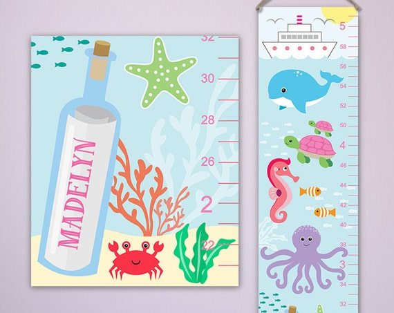 Under the Sea Growth Chart on Canvas, Ocean Growth Chart,  Nautical Girl Nursery, Girl Nautical Nursery - Under the Sea Nursery - GC4002A