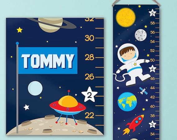 Space Growth Chart - Canvas Growth Chart - Solar System Kids Art, Astronaut Kids Art, Outer Space Nursery