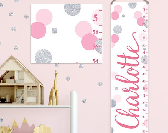 Pink and Silver Growth Chart, Pink and Silver Nursery Decor, Personalized Canvas Growth Chart, Polka Dots Growth Chart  - GC2034P