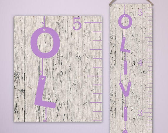 Personalized Growth Chart Ruler, Canvas Height Chart Ruler - Canvas Wooden Growth Chart - GC0101L