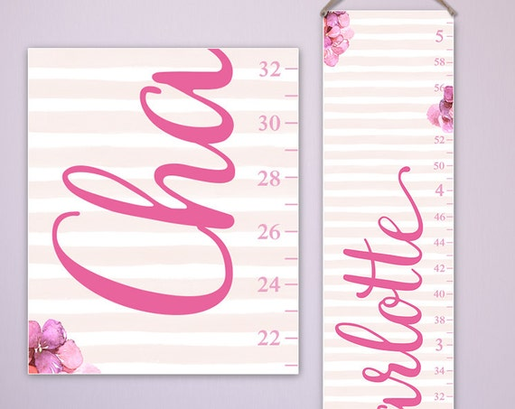 Floral Growth Chart Personalized on Canvas, Watercolor Flowers, Girl Growth Chart, Nursery Decor S