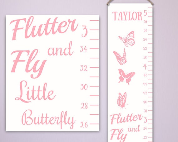 Butterfly Growth Chart - Custom Colors, Personalized Canvas Growth Chart, Butterfly Nursery Decor, Butterfly Wall Art - GC2000W