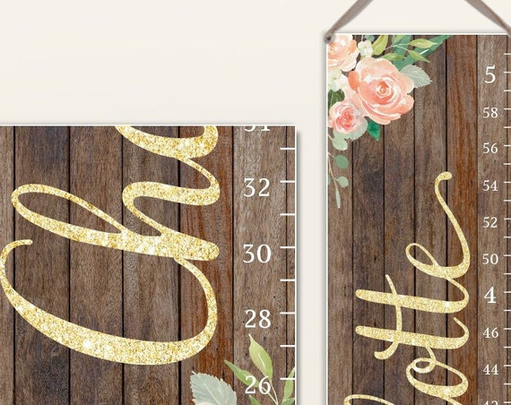 Canvas Growth Chart | Girls Growth Chart | Height Chart | Growth Ruler | Gold Nursery Decor | Blush Floral Wall Art | Blush Nursery