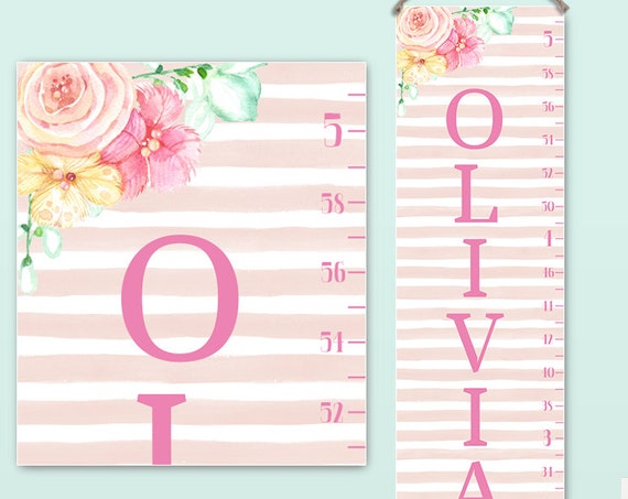 Pink Growth Chart - Canvas Personalized Growth Chart with Pink Stripes and Flowers, Perfect for Personalized Girl Toddler Gift - GC2009P