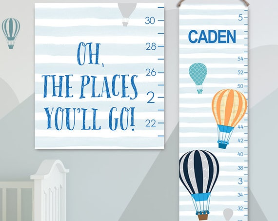 Oh The Places You'll Go Art - Personalized Canvas Growth Chart, Hot Air Balloons Kids Art, Hot Air Balloon Growth Chart